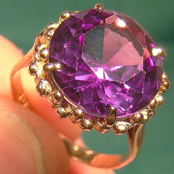 12k Gold Egyptian Synthetic Alexandrite Ring 1950s 12 K Size 6