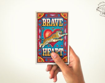 Brave Heart: Mini Note Book | PLAIN or RULED Paper | 60 Pages | Matchbox Pocket Diary | Indian Pop Art Stationery Sketchbook Cultural Gift