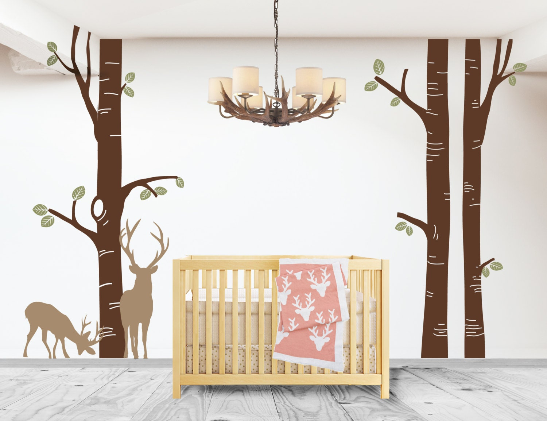 Nursery birch tree deer decal birch tree nursery decal for Birch tree mural nursery