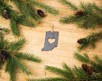 Love Indiana Christmas Ornament State Rustic Metal Ornament Recycled Steel Holiday Gift Industrial Decor Wedding Favor Ironmaidart