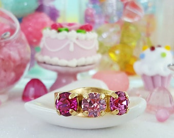 Three Stone Ring, Pink Ring, Fuchsia Ring, Pink Crystal Ring, Pink Swarovski Crystals, Pink and Gold Ring, Pink Lover Gift, Pink Prom, R3012