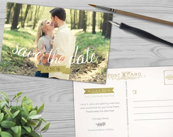 Save the Date Template - Foil Banner and Branch - Vintage Postcard - Instant Download