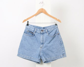 90s LEE Womens AU 12 US 8 High Waisted Stonewash Blue Denim Vintage Shorts