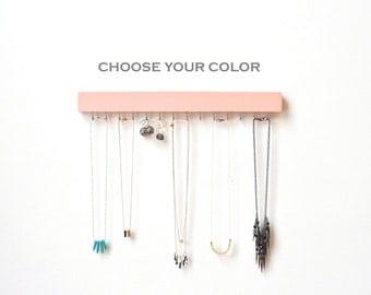 Jewelry Organizer Wall - Jewelry Holder - Necklace Holder - Earring Holder - Wood Necklace Hanger - Necklace Storage - Modern - Minimalist