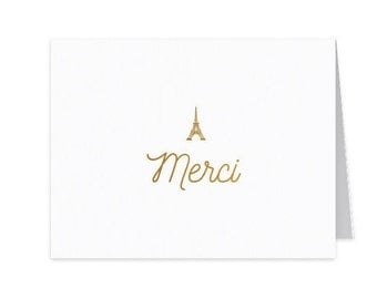 Thank You Notecards Set of 50 - Merci - Paris - Simple - Gold Foil - Personal Stationery - Foil Stamped Stationery - Hostess Gift - Paper