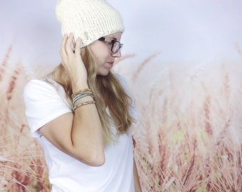 Wool Knit Hat, Winter Hat, Slouch Beanie, Womens Hat, Womens Beanie, Chunky Slouchy Hat, Hipster Beanie, Knitted Slouchy Hat - {CREAM}