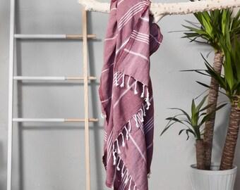 Turkish Towel Burgundy | Authentic Beach Towel Travel Throw Bath Towel Fouta Turkish Cotton Towel Yoga Throw Sarong Summer Accessory  TAL04