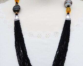 Black Necklace, Black Vintage Necklace, Black Beaded Necklace, Black Statement Necklace, Black Seed Bead Necklace, Black Necklace, Vintage