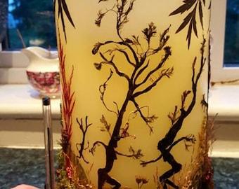 Dancing Tree Spirits-Botanical Art-Oshibana-Large Flameless Candle-Pagan-Natural