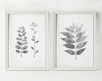 Grey leaves prints, Black and white Botanical prints, Grey wall decor Set of prints, 5x7 printable Set of 2 art prints, Grey decor, DIY art