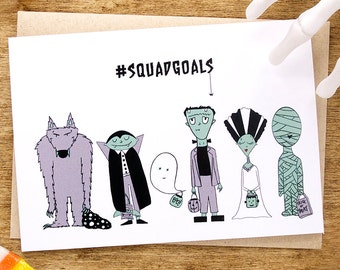 Halloween Card, Squad Goals Card, Funny Halloween Card, Funny Happy Halloween Card, Frankenstein Monsters Card, Halloween Greeting Card