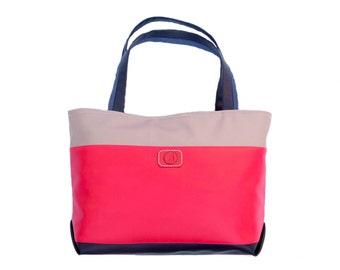 """Large tote bag """"Rosa"""" -  elegant pink everyday tote"""