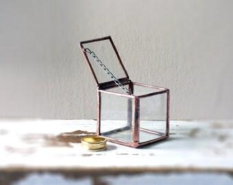 Wedding Ring Glass Box, Hinged & Lidded.Glass Ring Box Terrarium, Ring Bearer Box,Wedding Ring Holder,For Etching Look Inside