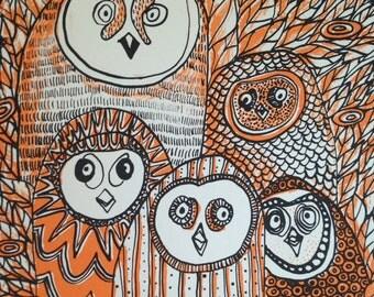 Five Owls (Orange/Black)