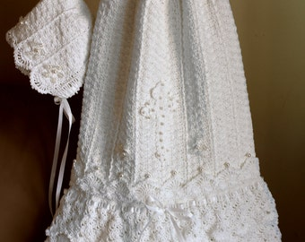 Crochet Christening Gown Pattern Crochet Baptism Gown Pattern Blessing Dress Pattern Crochet Bonnet Pattern Serenity Sizes Preemie - 12 mos