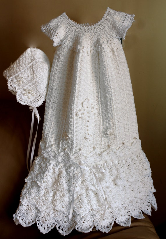 Free Knitting Pattern For Christening Dress : Crochet Christening Gown Pattern Crochet Baptism Gown ...