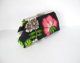 Schumacher Chiang Mai Dragon black fabric, floral clutch, linen clutch, black clutch, summer clutch, multi-colored clutch, handbag