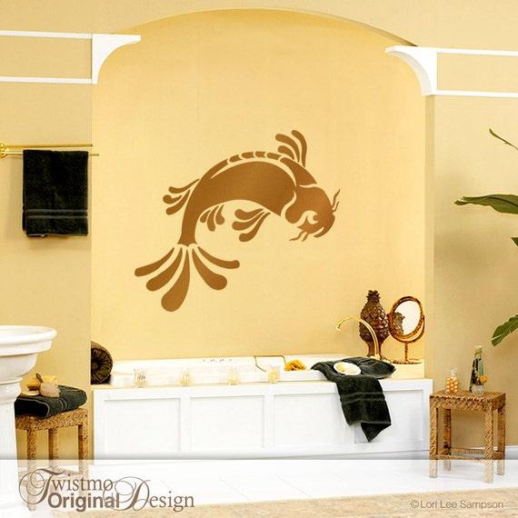 Bathroom wall decal bathroom wall decor large koi fish wall for Bathroom fish decor