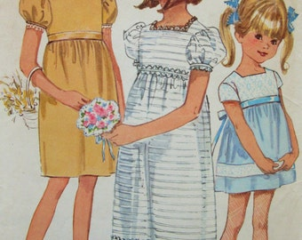 Vintage Simplicity 6860 Sewing Pattern, 1960s Dress Pattern, Empire Waist Little Girls' Dress, Child's Long Dress, Chest 26, 60s Sewing