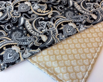 Fabric Placemats Reversible Set of Four Black Gold White Grey Paisley Design Coordinating Gold Flowered Fabric Sophisticated Art Deco 1930's