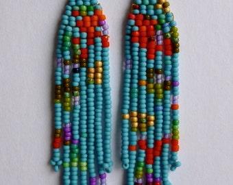 absract turquoise seed bead earrings