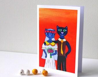 Funny cat Wedding Congratulations card Congratulations anniversary cards Wedding shower card cat Funny Wedding greeting card Engagement card