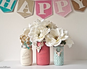 Painted Mason Jars Home Decor Coral Blue Cream Vase Centerpiece Rustic antlers Shabby Chic
