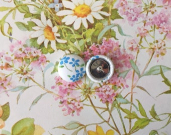 Button Earrings / Fabric Covered / Wholesale Jewelry / Blue and White / Hypoallergenic / Small Stud Earrings / Bridesmaid Gifts