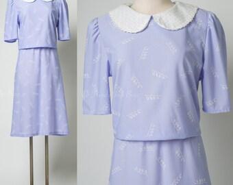 Vintage Purple Dress, Mad Men Dress, 60s Dress, Lavender Dress, Pan Collar Dress, Blouson dress - L