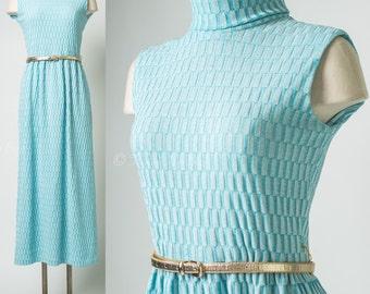 Mod Dress, Mad Men Dress, Vintage Maxi Dress, Vintage Blue Dress, 60s Maxi Dress, Sleeveless Dress - S/M