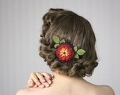 """Hair Accessory, Red Flower Clip, Burgundy Fascinator, Small Floral Headpiece, Red Hair Flower 1950s Hairpiece Vintage - """"As Seasons Change"""""""