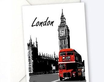 London Notecard, Travel Greeting Card, Greeeting Card, Blank Notecard, Blank card, England, travel gift, 5x7 card