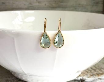 Beautiful Teardrop Erinite Earrings, Crystal drop Earrings, Bridesmaid Gift, Wedding Jewelry