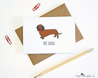 Sausage Dog Card  ∙ Anniversary Card ∙ Valentines Card ∙ Sexy Card ∙ Adult Card ∙ Mature Card ∙ Boyfriend Card ∙ Card for Him ∙ Nice Sausage