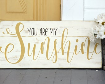 "You are my sunshine wall art, hand painted wood sign, great for baby room or home decor, measures 10.5"" x 22"""