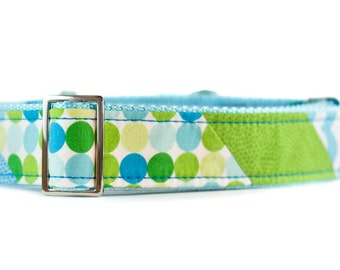 Martingale Dog Collar, Blue and Green Dog Collar, Handmade Martingale, Unique Dog Collar, 1.5 inch Martingale Large, Boy Martingale Collar
