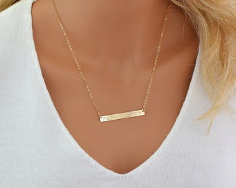 Extra Long Bar Necklace, Gold Bar Necklace, Coordinates Necklace, Name Necklace, Personalized Bar Necklace in Gold, Silver, Rose Gold 5x50