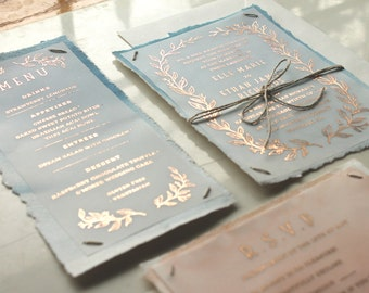 SUITE Classic Watercolor & Copper Foil Vine Foliage - Printable Wedding Invitation