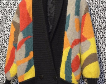 1980s Abstract Oversized Color Block Pattern Sweater made by AZIZA Bright Colors Retro Style Cardigan Sweater Totally 80's Valley Girl NICE!