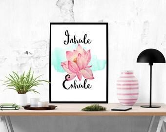 "Yoga Art ""Inhale Exhale"", Lotus Art Print, Meditation Art, Lotus Poster, Lotus Wall Art, Watercolor Lotus, Yoga Print, Yoga Poster,Yoga Gift"