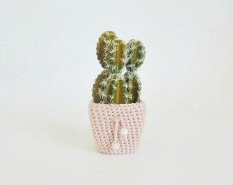 Flower and pot, cactus, miniature flower, artificial plants, planter, crochet pot, home decor, crochet plant cozy, pink planter