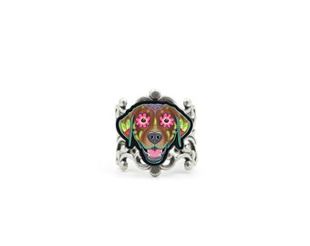 SALE Regularily 14.95 - Labrador in Chocolate Ring - Day of the Dead Sugar Skull Dog Adjustable Ring