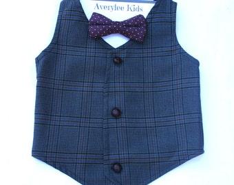 Ethan Boys Navy Blue Vest, Toddler to Youth Boys Vest, Navy Blue Ring Bearer Outfit, Glen Plaid Vintage Style Boys Vest, Page Boy Outfit