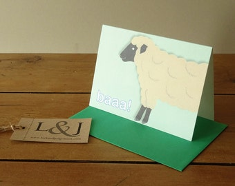 Sheep - Farm Animal Card - Sheep Greeting Card - Farm Animals Card - Lamb Greeting Card - Sheep Card - Animal Card - Farm Animals - Baa Baa