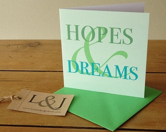 Retirement Card - Hopes And Dreams - Retirement - New Home Card - Retiring - Just Because - Any Occasion Card - Moving Overseas - Emigrating