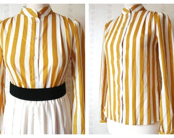Retro striped mandarin collar blouse in mustard / white size S-M