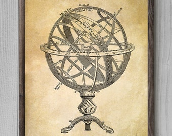 Armillary Sphere. Vintage Poster. Patent Print Single Print. Patent Wall Art Print #8115 - INSTANT DOWNLOAD