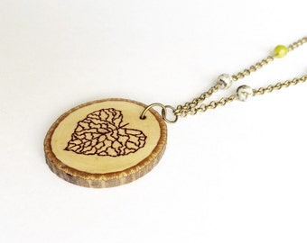 Heart Leaf Wood Burned Necklace Wood Slice Tree Branch Rustic Necklace with Chain