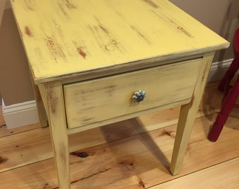 Distressed Yellow Side Table