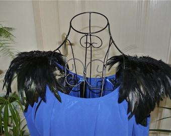 Handmade Black feather epaulette pad Carnival feather shoulder shawl cape burning man festival epaulettes